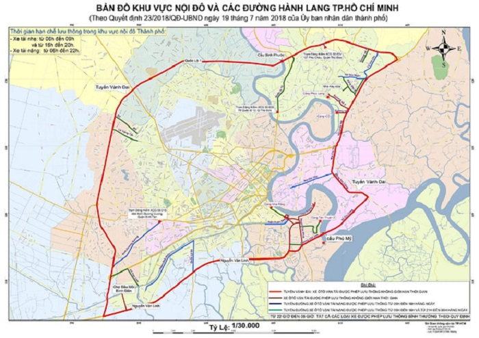 Bản đồ các tuyến đường cấm xe tải tại TPHCM