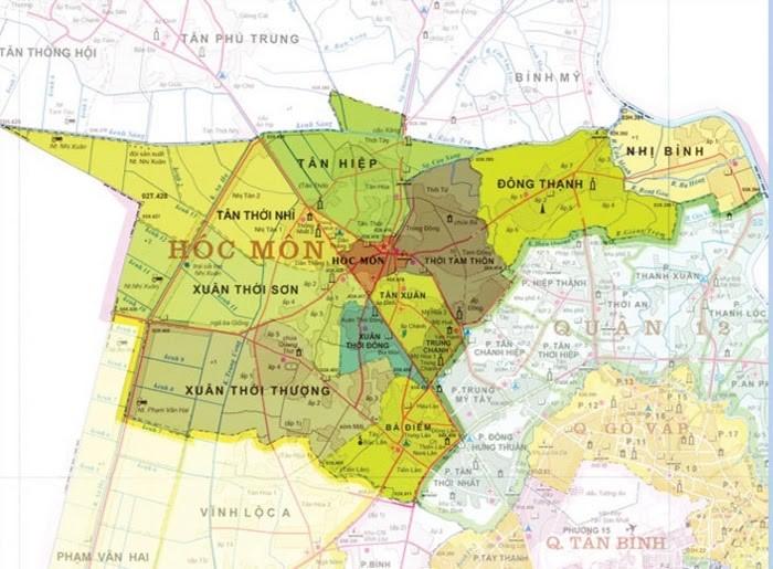 Bản đồ hành chính huyện Hóc Môn